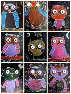 Owls in pastel on black paper Classroom Art Projects, Art Classroom, Kindergarten Art, Preschool Art, Autumn Art, Winter Art, Owl Art, Bird Art, Owl Kids