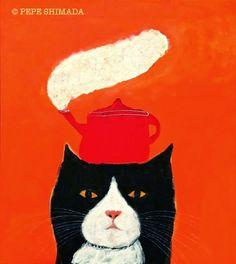 """Pot Cat"" <=> Acrylic on Canvas Artist Pepe Shimada Copyright © PEPE SHIMADA All Rights Reserved"