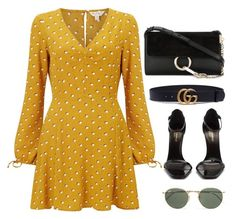 """""""Untitled #4763"""" by magsmccray on Polyvore featuring Miss Selfridge, Gucci, Yves Saint Laurent, Chloé and Ray-Ban"""