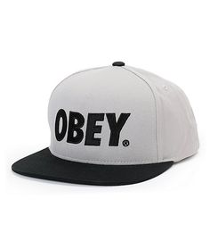 Hurry and grab yourself the Zumiez exclusive Obey The City grey and black snapback hat. Do your style a favor and throw on the grey hat body, black bill and top button, black embroidered Obey text at the front, and a black adjustable snapback sizing piece