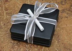 ~Chalkboard Coasters~ chalkboard paint sprayed on ceramic tiles!  One side is Cork sheeting.  FAB gifting paired with a bottle of wine!!!!!!!!