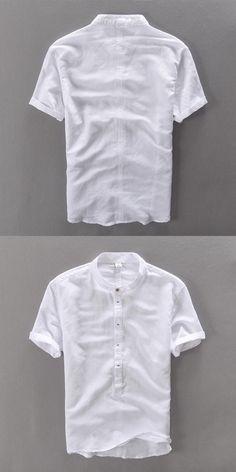 Men shirt short sleeve summer linen shirts men brand clothing comfortable camisa masculina breathable cotton mens shirt camisas #summmermensfashion