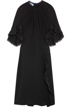 Black silk crepe de chine and lace Concealed hook and zip fastening at back 100% silk; trim: 90% cotton, 10% polyamide; lining: 60% cupro, 40% silk Dry clean Made in Italy
