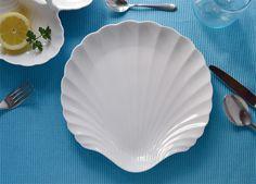 "Piatto in #porcellana a forma di conchiglia, ""Laguna"": per le cene a base di #pesce  www.ancap.it"