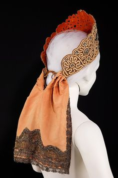kokoshnik from the collection of Natalia de Shabelsky (1841-1905), a Russian noblewoman who endeavored to preserve traditional Russian textiles