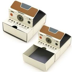 polaroid boxes! would be cool if they were used for pinhole photography