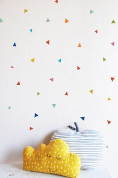 Option Organically add tiny decals to each of the side walls. Primary Tiny Confetti Triangles WALL DECAL by TheLovelyWall Tape Wall, Home Decoracion, Triangle Wall, Style Deco, Wall Decor, Room Decor, Removable Wall Decals, Nursery Inspiration, Kids Decor