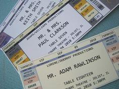 concert ticket escort cards