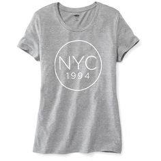 "Old Navy ""NYC 1994"" Graphic Tee (45 BRL) ❤ liked on Polyvore featuring tops, t-shirts, shirts, 11 anos dança ângela, grey, graphic t shirts, gray shirt, crew neck t shirt, graphic tees and crewneck t-shirt"