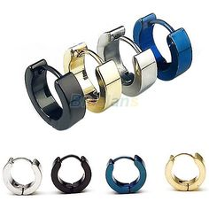 1 Pair Cool Men's Stainless Steel Round Hoop Earring Ear Stud 4 Colors Available - V-Shop