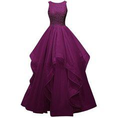 Dresstells Long Prom Dress Asymmetric Bridesmaid Dress Beaded Organza... ($120) ❤ liked on Polyvore featuring dresses, gowns, bridesmaid gowns, purple dress, purple prom dresses, long evening dresses and purple gown