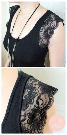 truebluemeandyou: DIY Lace Sleeve Tee Shirt Tutorial from Do Do Do. A sewing m… truebluemeandyou: DIY Lace Sleeve Tee Shirt Tutorial from Do Do Do. A sewing machine is not required for this DIY. I translated the post from French to English… Weiterlesen → Sewing Hacks, Sewing Tutorials, Sewing Projects, Sewing Patterns, Sewing Tips, Sewing Basics, Diy Lace Projects, Learn Sewing, Tutorial Sewing