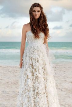 chic feather beach wedding dresses