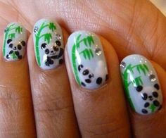Stylish Panda Nails Animal Nail Art Designs Featured, Nail Art 22 Great Ideas for Animal Print Nail Arts animal nail art designs New Nail . Get Nails, Fancy Nails, Love Nails, How To Do Nails, Pretty Nails, Hair And Nails, Panda Nail Art, Penguin Nail Art, Animal Nail Art