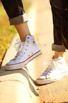 Chuck Taylor Converse White Hi Tops- The Staple Fashion diet.