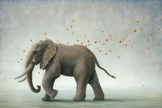 Robert Bissell---His paintings explore the idea that animals have a metaphysical importance to our own spiritual well-being. In a world devoid of animals, we as humans would be compelled to reconsider our relation to nature. While whimsical at first glance, there is underlying tension and precariousness in his images.    I want this as a tattoo!!