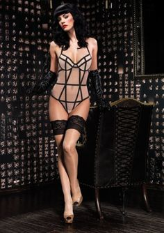 burlesque pinup harness one piece suit by KinkyShit on Etsy