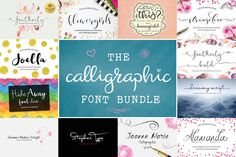 Script Font bundle - Calligraphy fonts including hand lettered fonts. Can be used for photography logo designs by AquariusLogos on Etsy