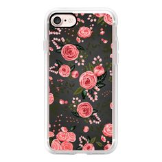 Pink Floral Chalkboard Flowers Feminine Chic Transparent Case 004 -... ($40) ❤ liked on Polyvore featuring accessories and tech accessories