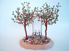 Double Wire Trees Sculpture  Swing Couple  Custom by wireforest, $69.00
