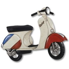 The vintage scooter metal wall are is a great addition to any scooter enthusiasts home. This wall art is designed in a scooter shape. Dimensions: 73.5cm x 61cm x 5cm