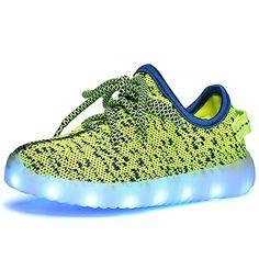 huge selection of e76f6 d90a9 Genda 2Archer Boys Girls 7 Colors LED Luminous Knit Sneakers Fashion USB  Charging Light Shoes