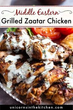 The best grilled zaatar chicken recipe! Juicy chicken thighs marinated with zaatar and lemon juice, then grilled to perfection make the best lunch! Serve with pita, salad and some herb yogurt sauce for the ultimate middle eastern feast! Grilled Whole Chicken, Slow Cooked Chicken, Stuffed Whole Chicken, Yummy Chicken Recipes, Easy Dinner Recipes, Yogurt Sauce, Spring Recipes, Mediterranean Recipes, Chicken Thighs