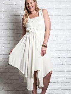UMGEE Plus Handkerchief Dress - Drawstring Waist- Sizes XL, 1XL, 2XL - – Debra's Passion Boutique