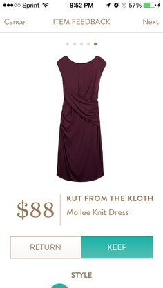 Mollee nit Dress by Kut From the Kloth. Designed exclusively for Stitch Fix. Fully lined knit dress.