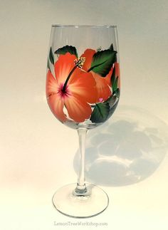 Hand Painted Orange Hibiscus Wine Glass 18.5 by LemonTreeWorkshop