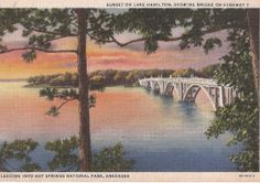 Lake Hamilton Sunset, Hot Springs National Park, 1936 postmark