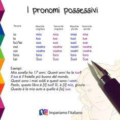 """Impariamo l'italiano! on Instagram: """"⭐ Pronomi possessivi ⭐ . . @welearnitalian 😀 . . . . . . . . . Per imparare sempre qualcosa di nuovo: 👉 www.impariamoitaliano.com 🇮🇹 📌…"""" Italian Grammar, Italian Language, Learning Italian, Languages, Study, Education, Classroom, Home, Learn Italian Language"""