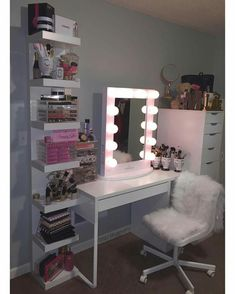 Love those shelves,and would love to have a makeup vanity,maybe more vintage or not so plain white,side lights as 2 strips not bulbs