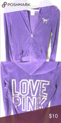 "Victoria Secret ""Pink"" Terry Cloth Zip hoodie Royalty purple Terry Cloth Zip hoodie(hood string missing) pink in gold little bit of cracking due to washing. PINK Victoria's Secret Tops Sweatshirts & Hoodies"
