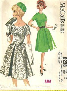 McCalls 6228 Vintage 60s Sewing Pattern dress by studioGpatterns, $16.50