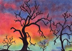 ACEO Print Pastel Colorful Background Black Trees 2.5 x 3.5 Inches Original Lustre Print Gift Idea Collector Art Collection Pretty