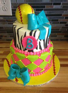 Softball girly birthday cake Tristan loves this for her birthday Girly Birthday Cakes, Birthday Favors, Birthday Ideas, 10th Birthday, Birthday Balloons, Birthday Invitations, Softball Birthday Parties, Softball Party, Softball Stuff