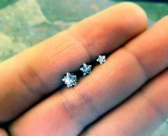 Crystal Star Triple Helix Stud Cartilage Earrings on Etsy, $11.00
