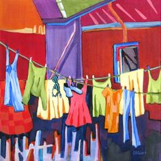 Air Dry, contemporary urban scene with laundry, painting by artist Carolee Clark