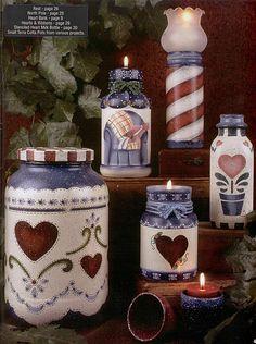 Tiza de suelo manualidades: Pintura País en botellas de vidrio y estaño