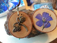 Dragon Fly Necklace Dried Flower Purple Blue by SeaGlassSunshine