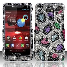 Gee. I would love to be different, be gorgeous and be excellent. Just $11.99.  http://www.acetag.com/motorola-droid-razr-m-xt907-rainbow-leopard-with-full-rhinestones-faceplate-snap-on-hard-cover-case.html #XT907 #Droid