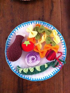Brinquedo pedagógico Comida de crochê
