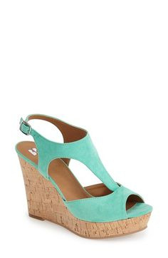 Free shipping and returns on BP. 'Springs' Peep Toe Wedge Sandal (Women) at Nordstrom.com. Done up in a sensational mint-hued faux suede, this sophisticated T-strap sandal is set on a cork platform wedge and finished with a polished silvertone buckle.