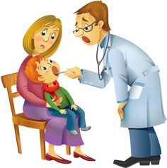 Family Doctor by Azzzzya Vector illustration of a pediatrician performs medical inspection