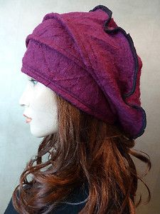 Unique Lagenlook Classic Style Mulberry Crincled Wool Slouchy Hat | eBay