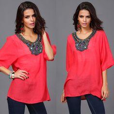 Bohemian étnico colar de contas turco à prova de sol de verão desgaste meia manga vintage para mulheres tamanho grande em Blusas & Camisas de Das mulheres Roupas & Acessórios no AliExpress.com | Alibaba Group