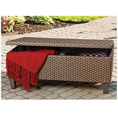 View Wilson & Fisher® Tuscany Resin Wicker Storage Trunk Coffee Table Deals at Big Lots