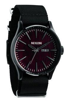 Nixon The Sentry Dark Wood/Black Men´s Watch $167 #watch #watches black textile bracelet