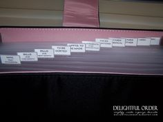 I need to make a binder like this and copy all of the categories. These are the things that I always have scattered all over! Love this blog- Delightful Order